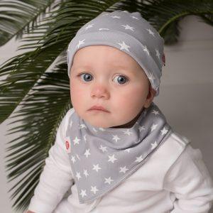 Grey Stars Baby Hat