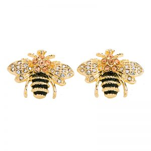 Crystal Gold Bee Earring