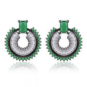 CZ Circle Earrings Emerald & Hematite