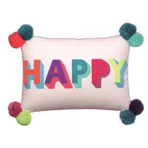 HAPPY Embroidered Multicoloured Cushion