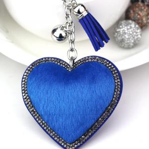 Blue Faux Fur Heart Keyring