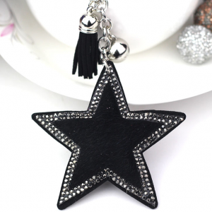 Black Faux Fur Star Keyring