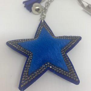 Blue Faux Fur Star Keyring