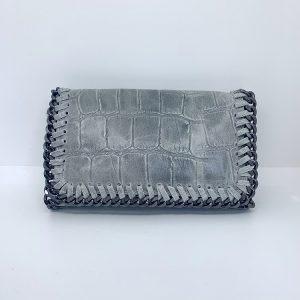 Croc Print Leather Bag in Grey