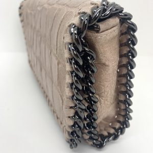 Croc Print Leather Bag in Blush