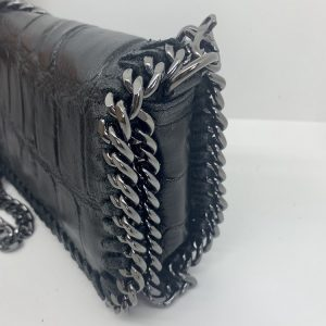 Croc Print Leather Bag in Black