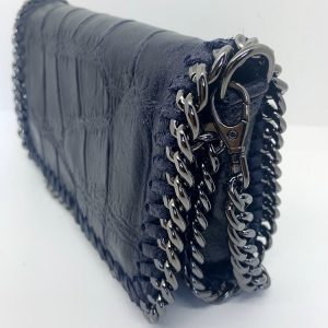 Croc Print Leather Bag in Navy