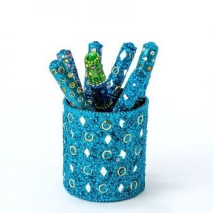 Turquoise Mirror & Jewels Pen Pot