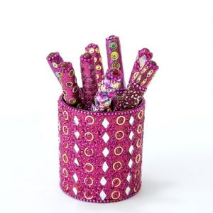 Fuschia Mirror & Jewels Pen Pot