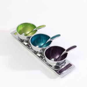 Enamel Coated Dip Bowls & Spoons