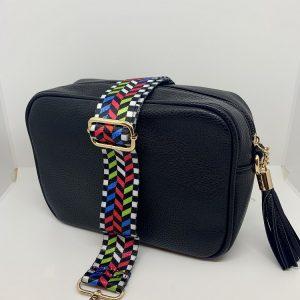 Single Zipper Cross Body Bag in Black
