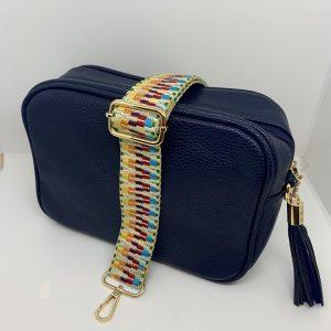 Single Zipper Cross Body Bag in Navy