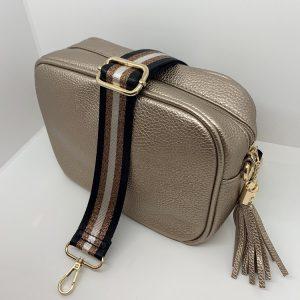 Single Zipper Cross Body Bag in Gold