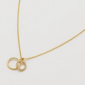 Double Circle Charm Necklace- Gold Plated
