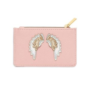 Card Purse- Blush With Iridescent & Gold Wings