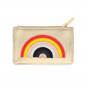 Card Purse- Gold with Rainbow