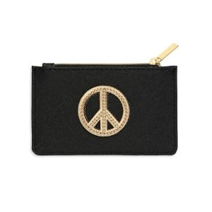 Card Purse- Black with Gold Peace Sign
