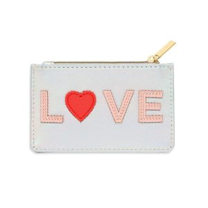 Card Purse- Iridescent With Blush & Coral Love