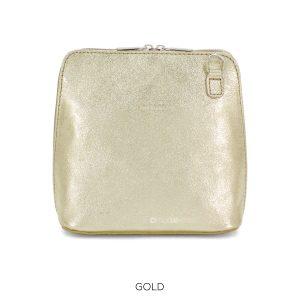 Leather Crossbody Metallic Bag in Gold