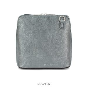 Leather Crossbody Metallic Bag in Pewter