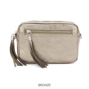 Leather Rectangle Metallic Bronze Crossbody Bag