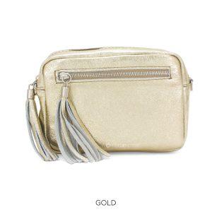 Leather Rectangle Metallic Gold Crossbody Bag