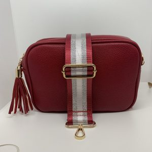 Single Zipper Cross Body Bag in Red