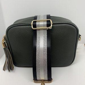Single Zipper Cross Body Bag in Khaki