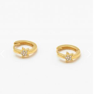 CZ Star Mini Hoop Earrings- Gold Plated