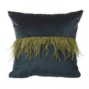Velvet & Feather Cushion Teal