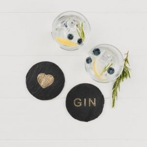 Etched Gold Love Gin Coasters x2