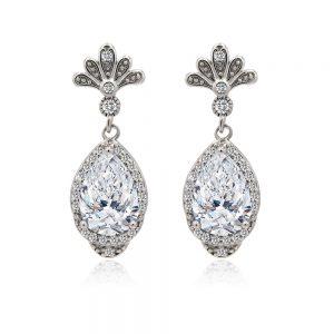 Art Deco White Cubic Zirconia Drop Earring in Silver