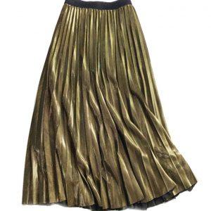 Pleat Midi Skirt Metallic Gold