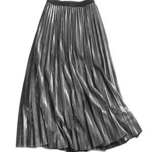 Pleat Midi Skirt Metallic Silver
