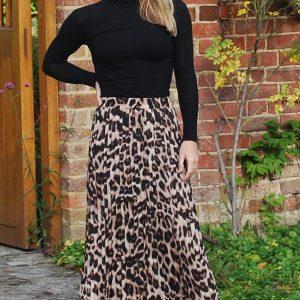 Leopard Print Pleat Midi Skirt