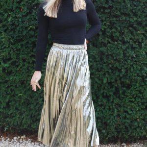 Metallic Shimmer Pleat Skirt Gold