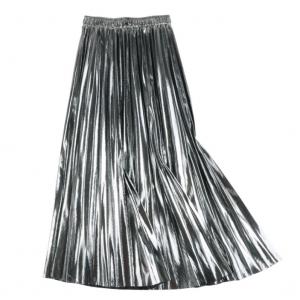Metallic Shimmer Pleat Midi Skirt in Silver