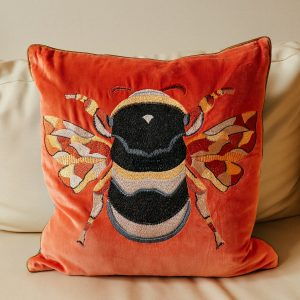 Bee Rust Orange Cushion