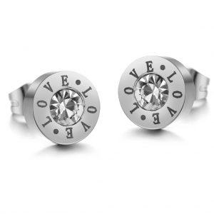 Crystal 'love' engraved circle stud