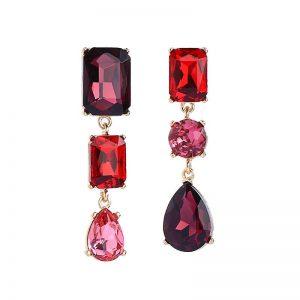 3 gem drop assymetric earring reds