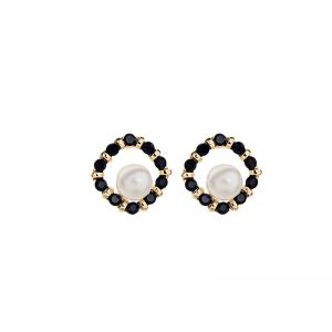 Crystal rounded square EA with centre pearl gold & black