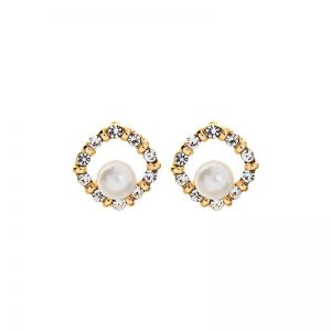 Crystal rounded square EA with centre pearl gold