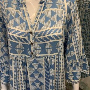 Blue aztec tile print dress