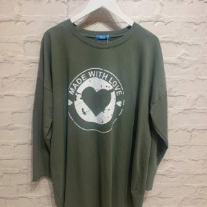 Khaki oversized made with love top