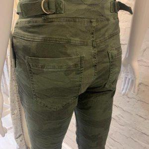 Khaki camo print cotton trousers