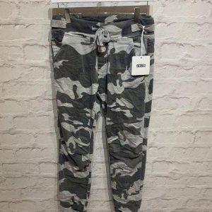 Grey camo print cotton trousers