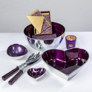 Purple enamel salad bowl
