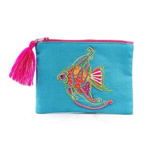 Aqua purse with embellished angel fish