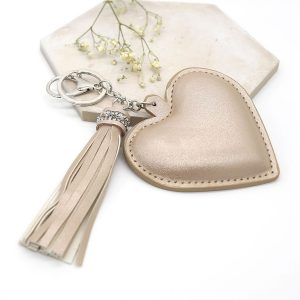 Champagne heart shaped keyring