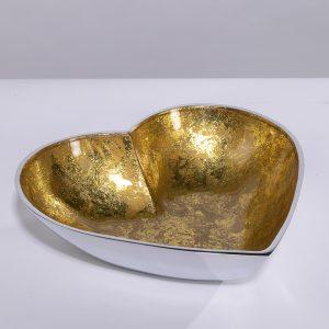 Gold recycled aluminium heart dish